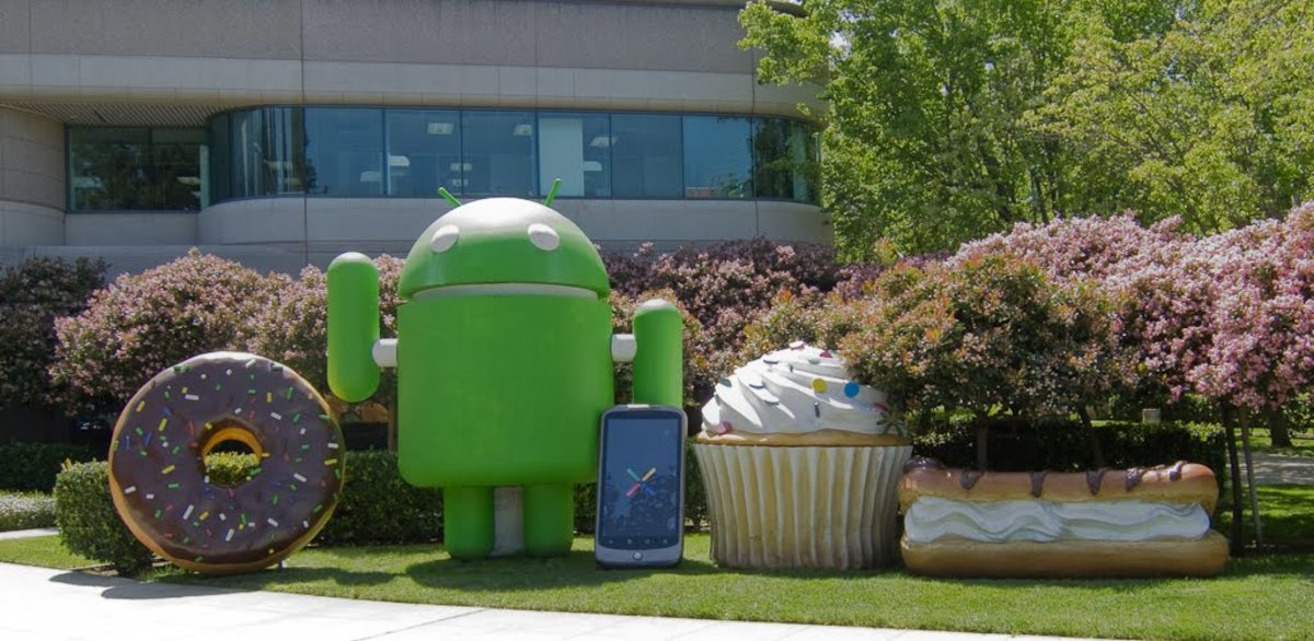 The Mascots on Google Campus, from left to right: Donut, Android (and Nexus One), Cupcake, and Eclair