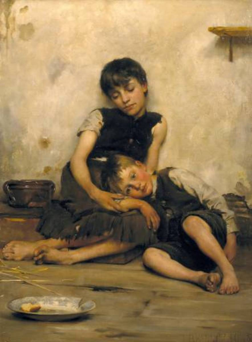 """Orphans"" by Thomas Benjamin Kennington, painted in 1885."