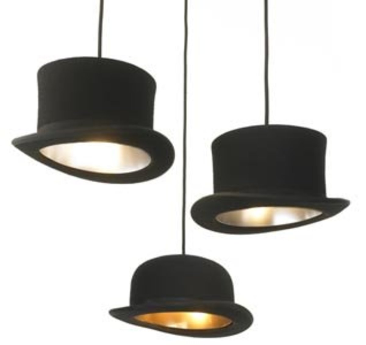 Diy pendant lights dengarden top hats whose insides are gilded make a whimsical and fun hanging light aloadofball Image collections
