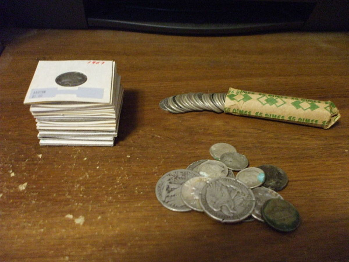 "P. Domain. US coinage pictured is ineligible for copyright. Junk silver in the form of Pre-1964 US Coinage. From top left: Silver dimes in paper holders, a roll of dimes and a mixed-loose lot of half dollars, quarters, dimes and ""wartime"" nickels."