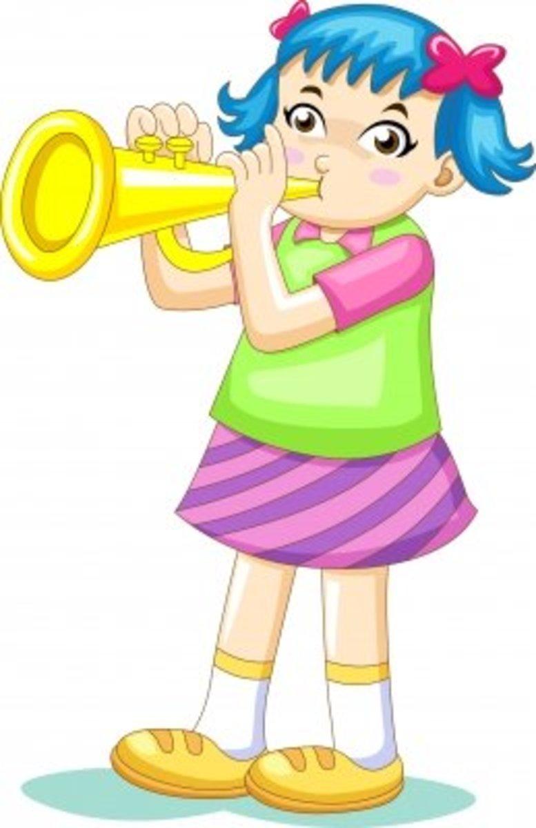 """Cartoon Girl Blowing Trumpet"" by AKARAKINGDOMS @ freedigitalphotos.net"