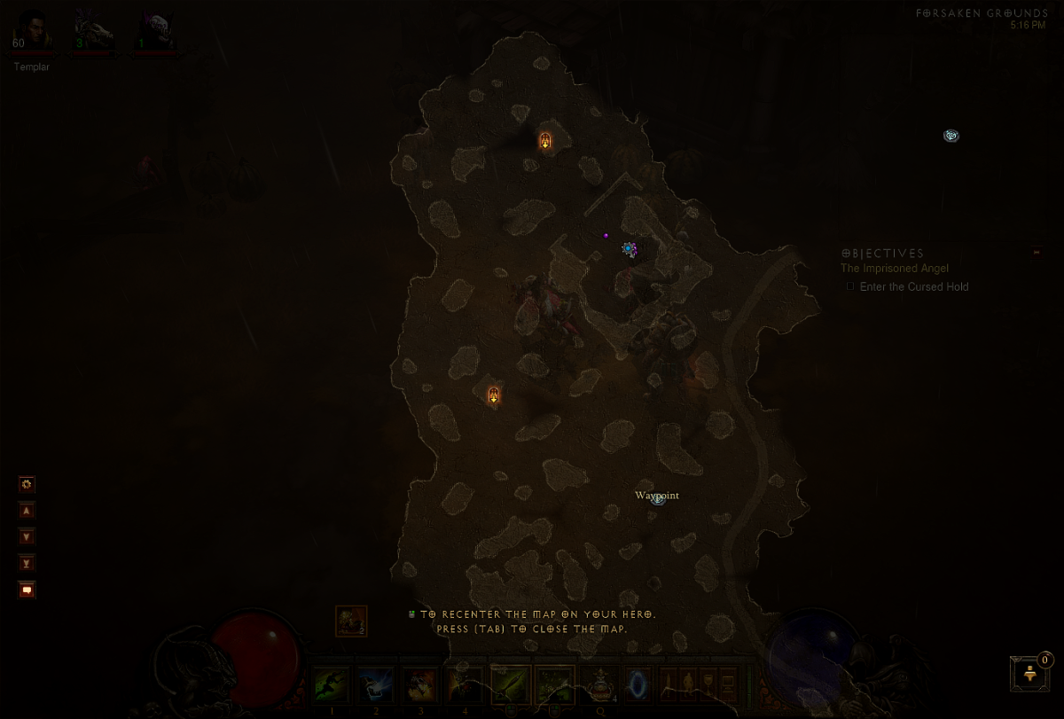The box of impassable land formations on the map here, which surrounds the current location, makes up the entirety of the quite large Forsaken Grounds.