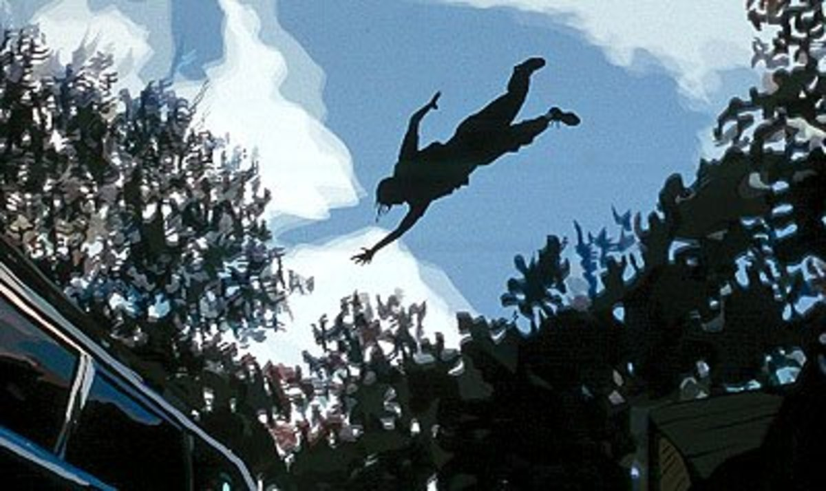 "An image from the film ""Waking Life"", which take place in a lucid dream."