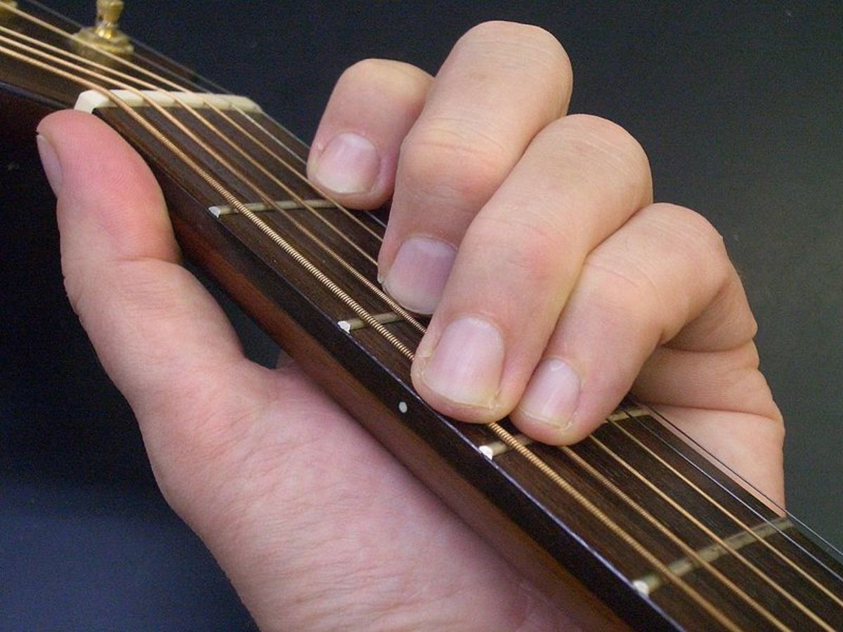Guitar chord.  Image courtesy Tom Gally & Wikimedia Commons.