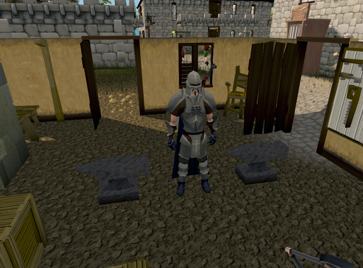 My character in Runescape, dressed in iron armor I made myself. A side bonus of making money in Runescape using this method.