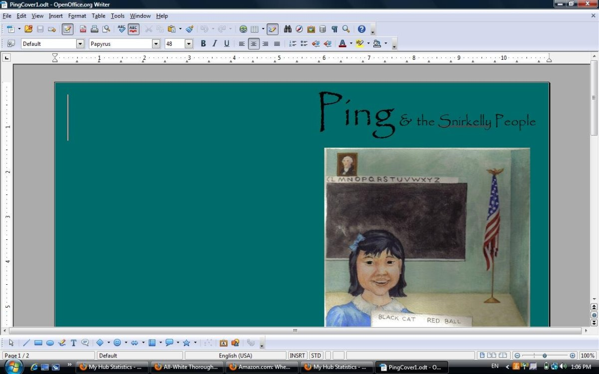 "This is how I work on the cover of my next CreateSpace book ""Ping & the Snirkelly People"" in OpenOffice. (The illustration is by Lanie Frick.)"