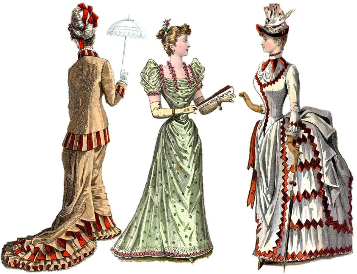 Victorian fashion plate: left is an early 1880s daywear dress; center is an 1880s evening dress; right is a mid-1880s day dress.