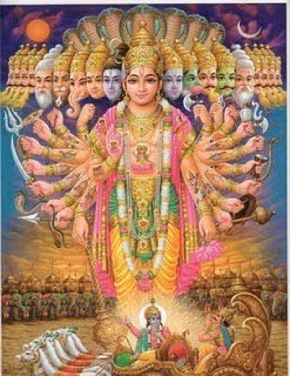 Esta ilustración de Vishnu ilustra cómo el Dios Único abarca muchas formas y actos en numerosas capacidades, aunque todas las diferentes formas son en última instancia, del mismo Dios.