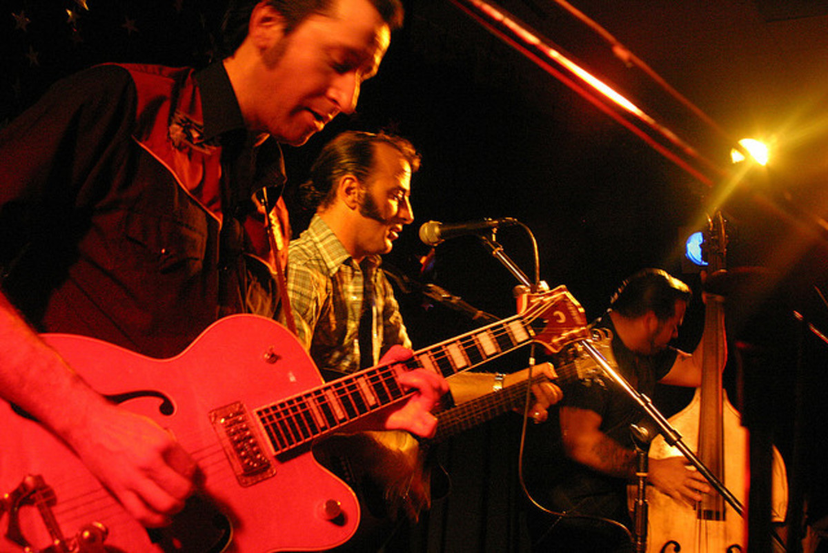 Electric Nerve...one kickin' rockabilly band with hip duds.