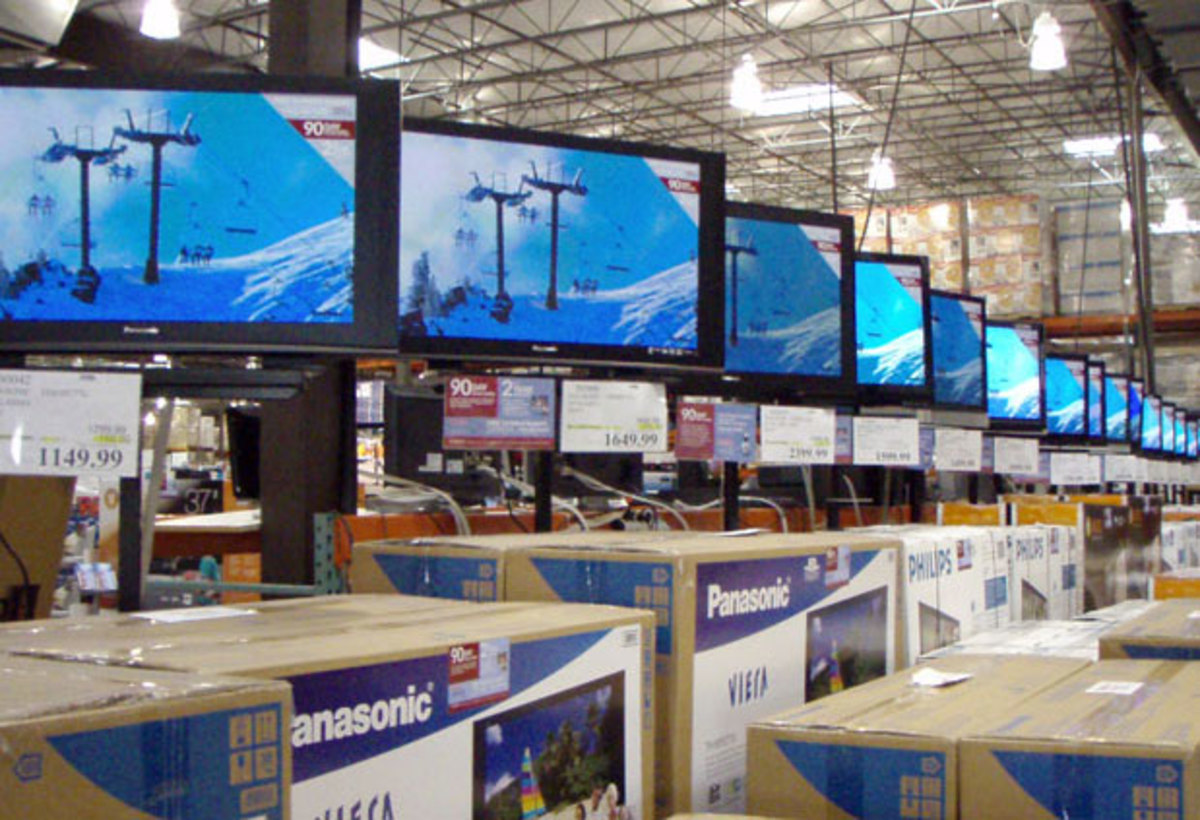 Typical Costco TV Electronics Display Area inside Store.