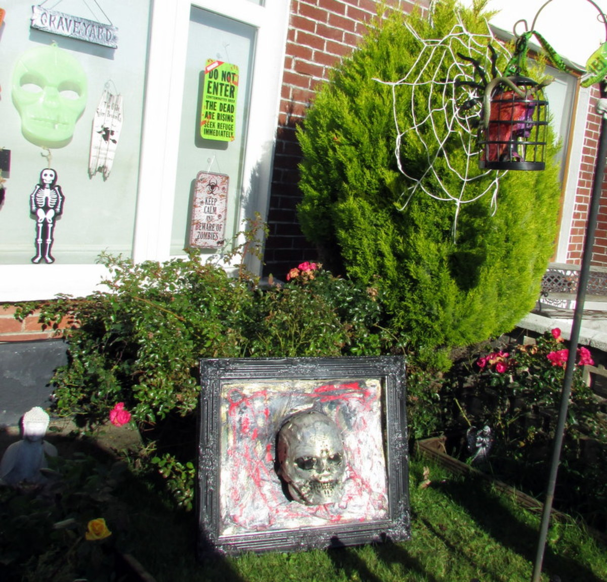 This is the blood soaked skull decoration displayed outside for Halloween.