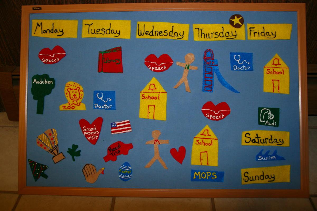 Flannel board calendar.