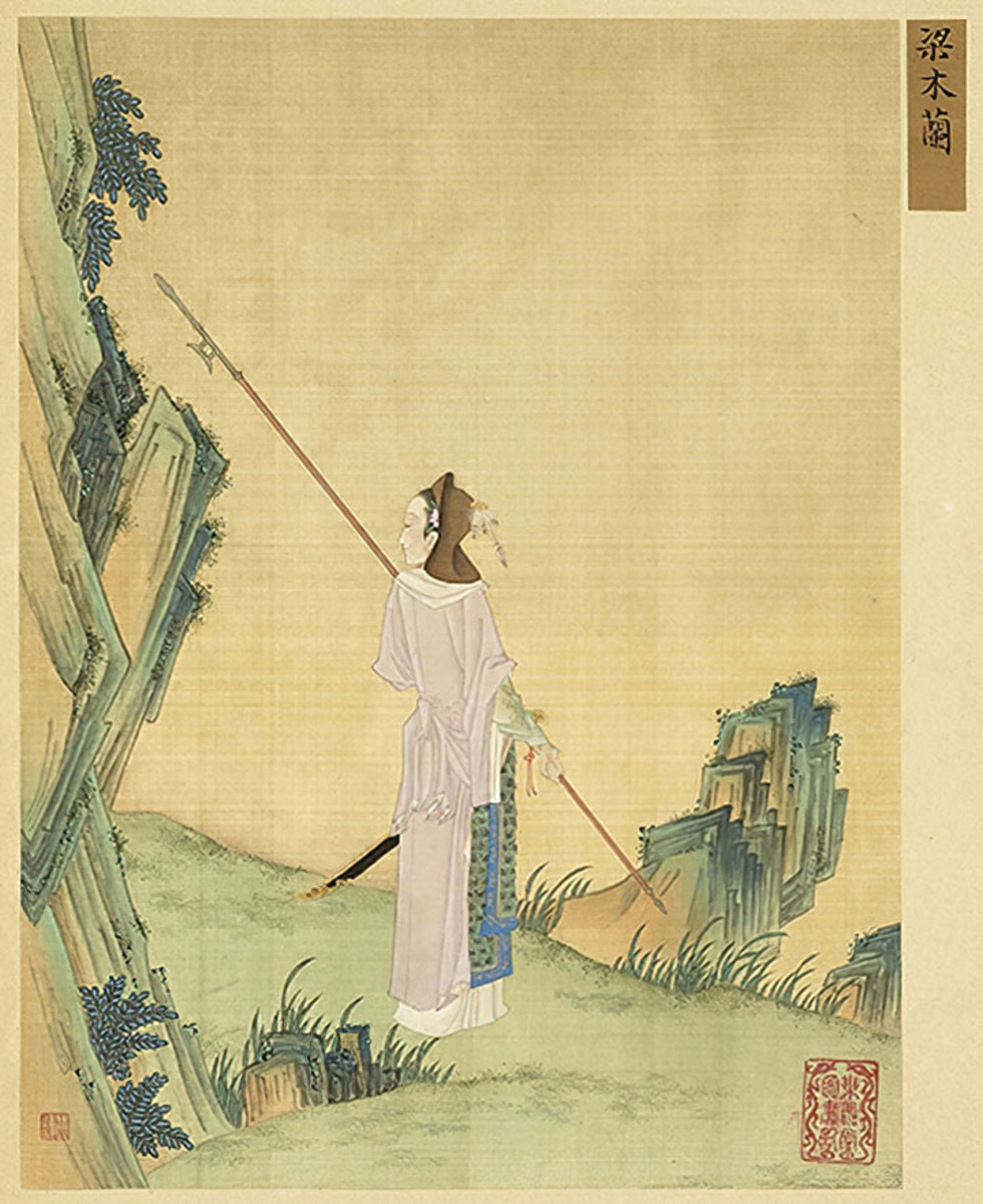 Classic depiction of Hua Mulan, the most famous legendary Chinese female warrior worldwide.