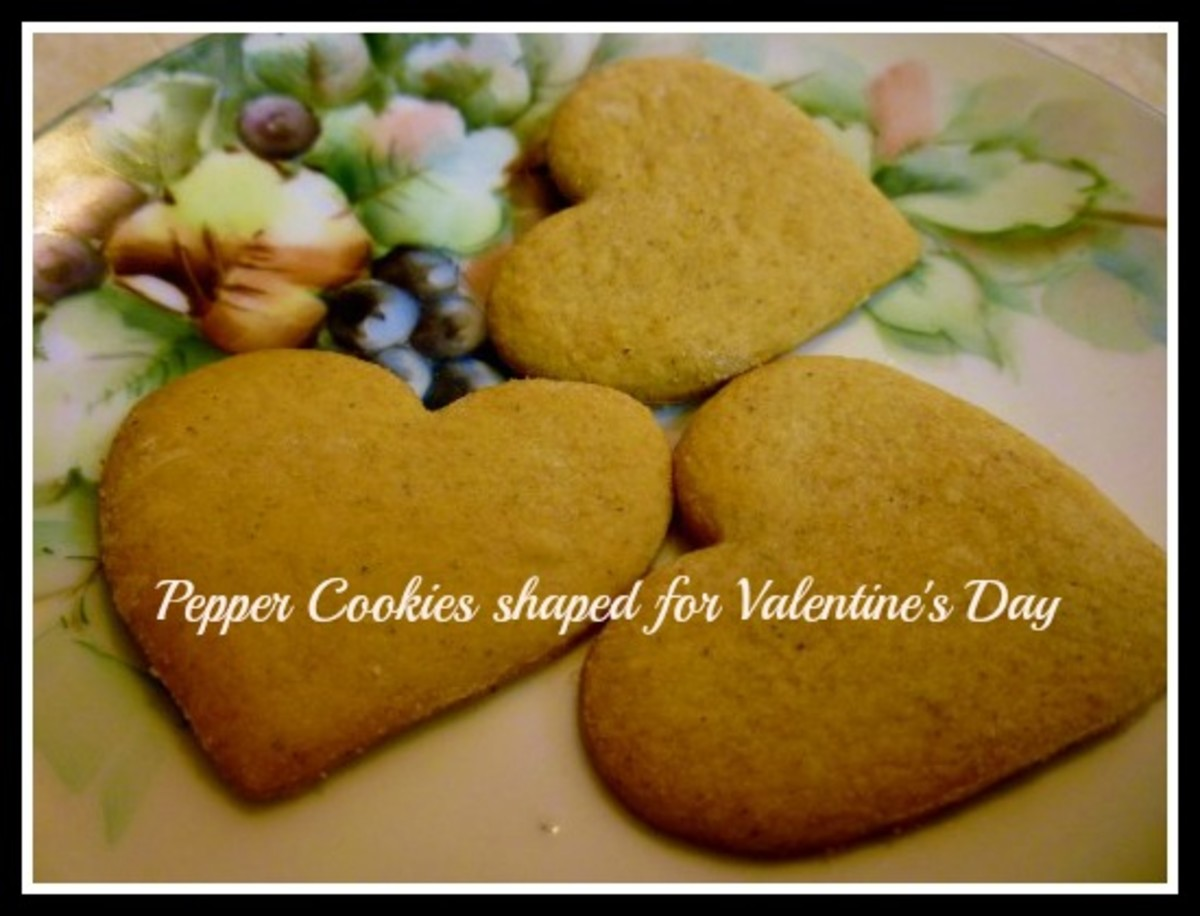 Heart shaped Pepper Cookies on a plate