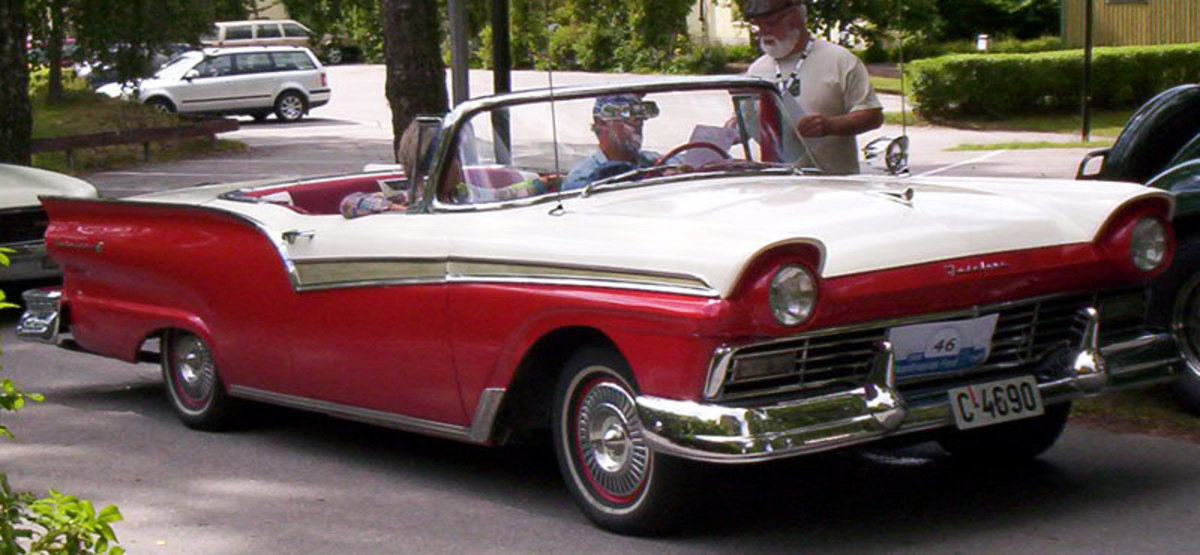 This '57 Ford convertible sold well because 1950s buyers were ready for some fun and flash after the bleak wartime years.