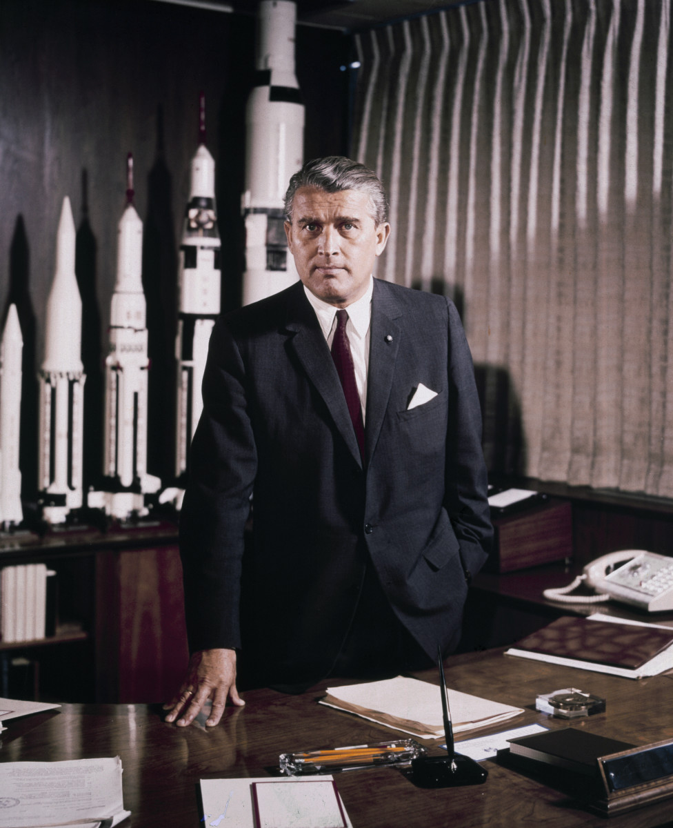 Von Braun in his office at Marshall Space Flight Centre, Alabama in 1964.