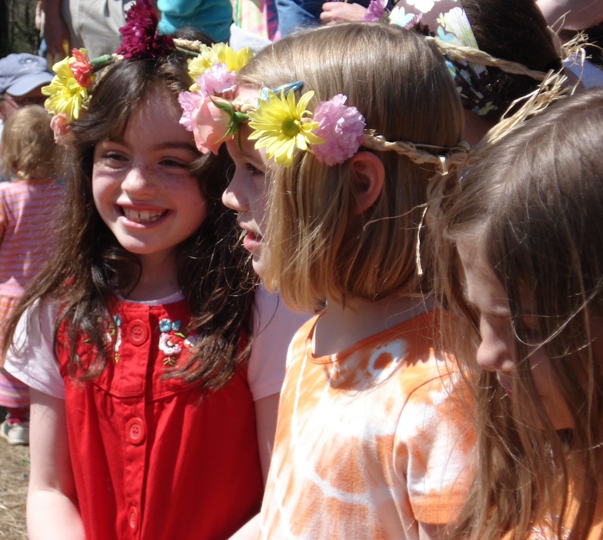 Maypole celebrations are part of the typical waldorf curriculum, incorporating history, dance and community. Flower garlands are made and worn by the students.
