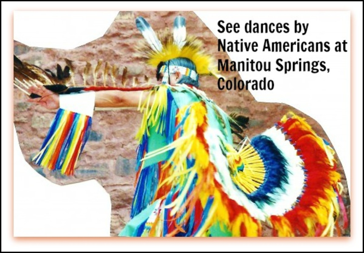 Eagle dance being performed in colorful costumes at Manitou Springs, Colorado.
