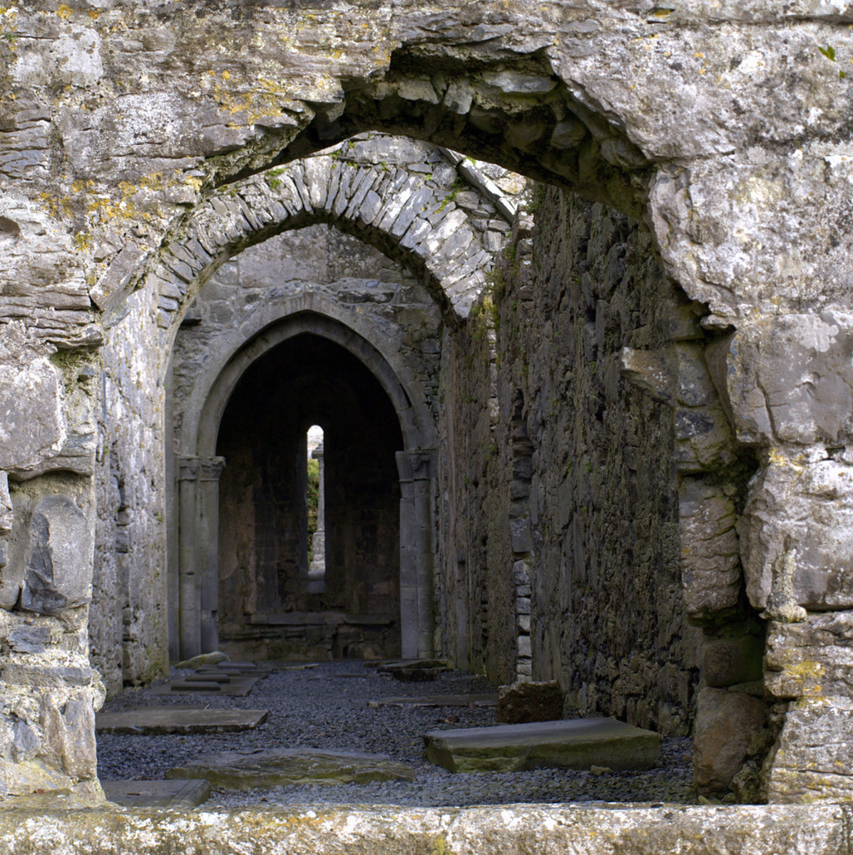 A view of Corcomroe Abbey, located in the Burren, Ireland