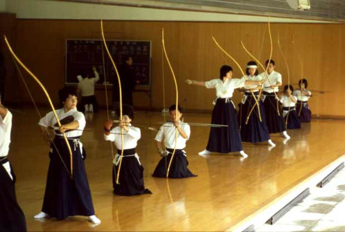 Kyudo practitioners in an Archery Dojo