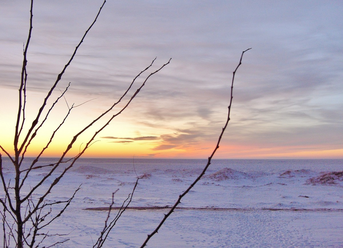 Sunset Photographs Over Frozen Lake Michigan Inspire Poetry