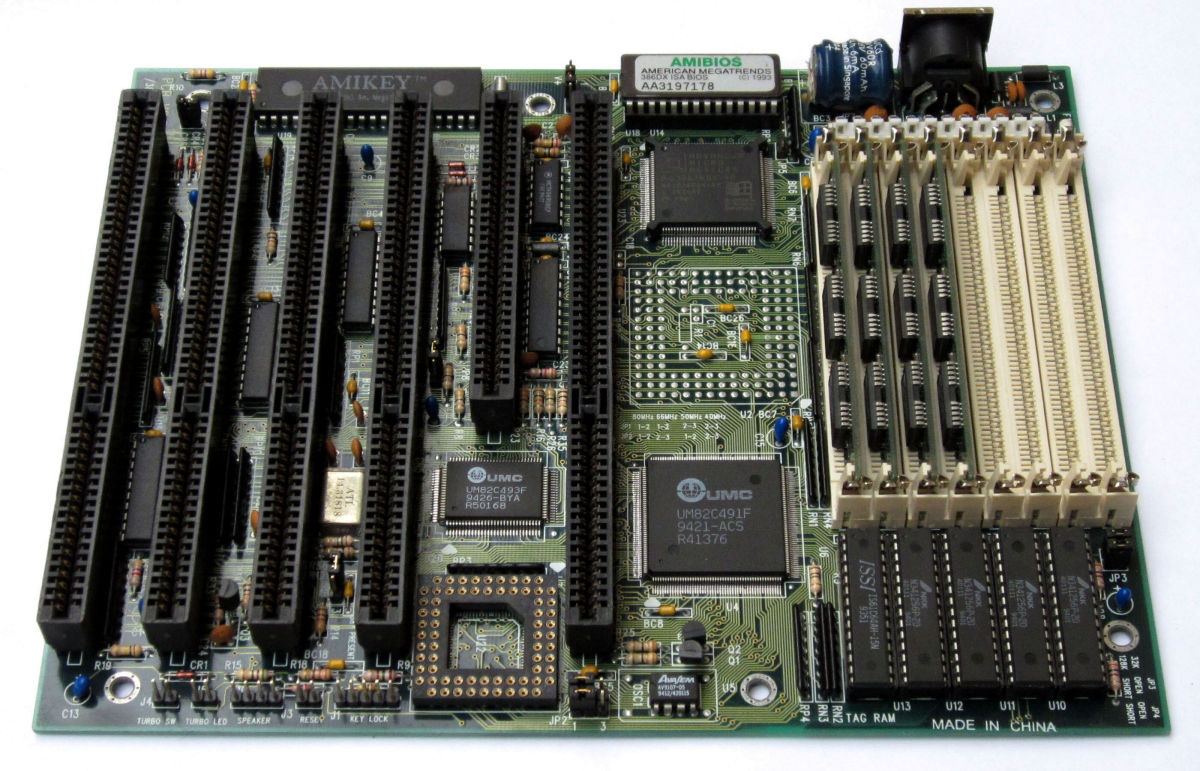 AT motherboard. Note: at the top right hand corner of the board, we have the AT keyboard port