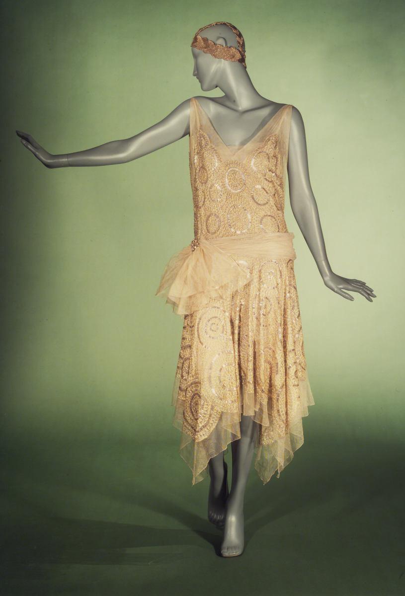 Asymetrical hem, drop waist tubular evening dress by Jeanne Lanvin