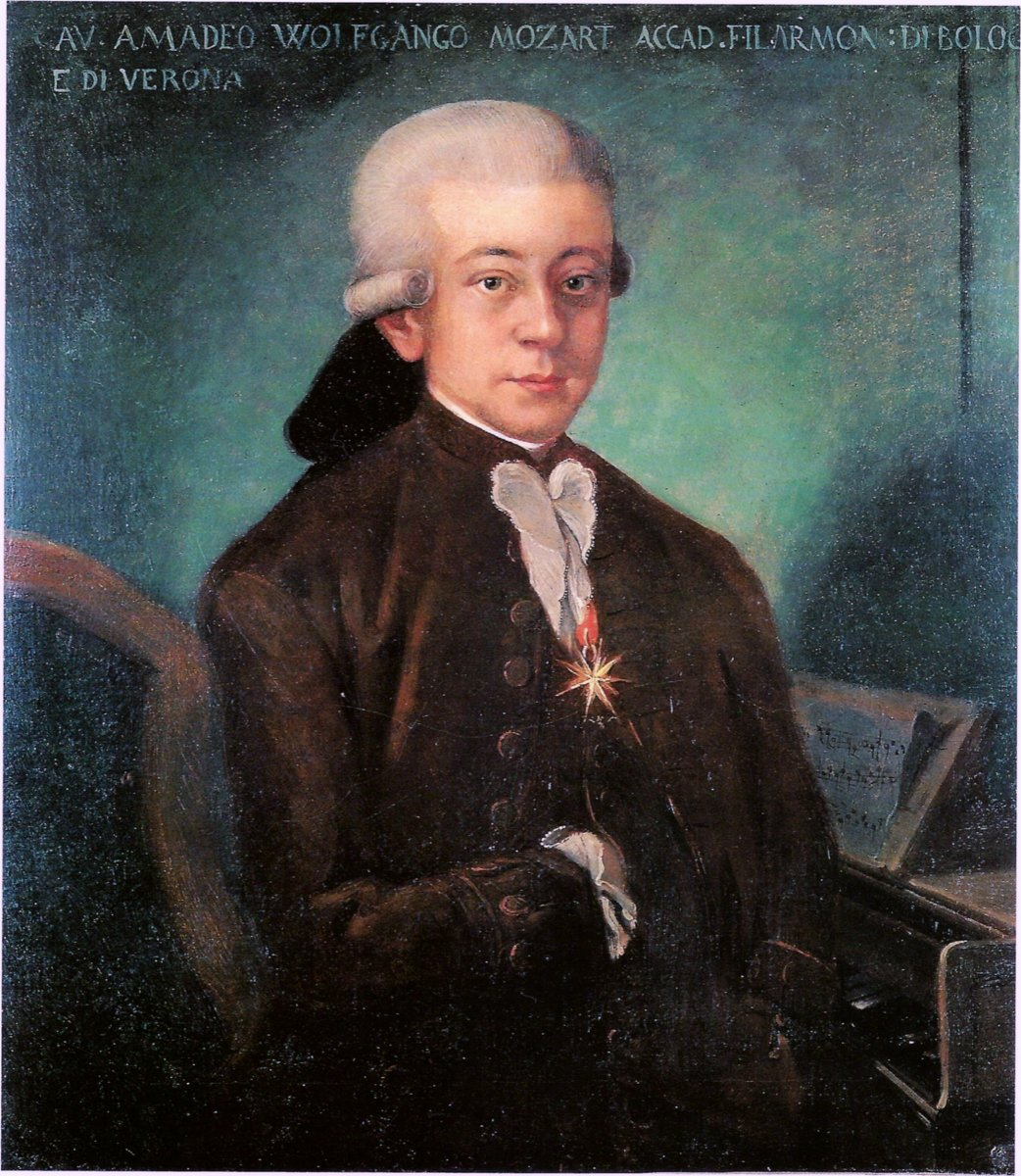 "An authentic painting of Mozart circa 1777.  Mozart's father said as to the resemblance of his son in this painting, ""...I can assure you that it is perfect."""