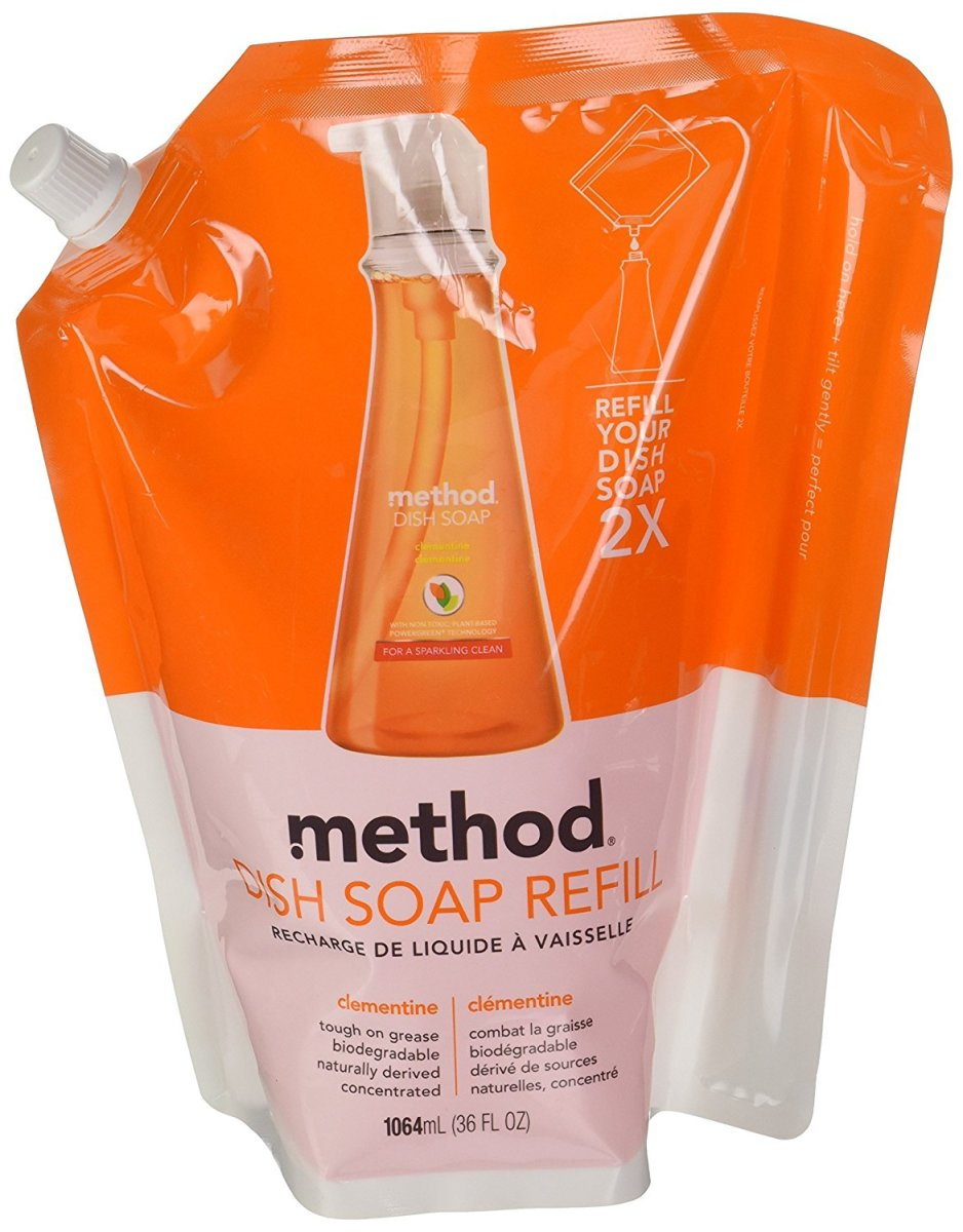 Method's dish soap is my favorite. Buy the 36 oz refill bag to avoid more plastic.