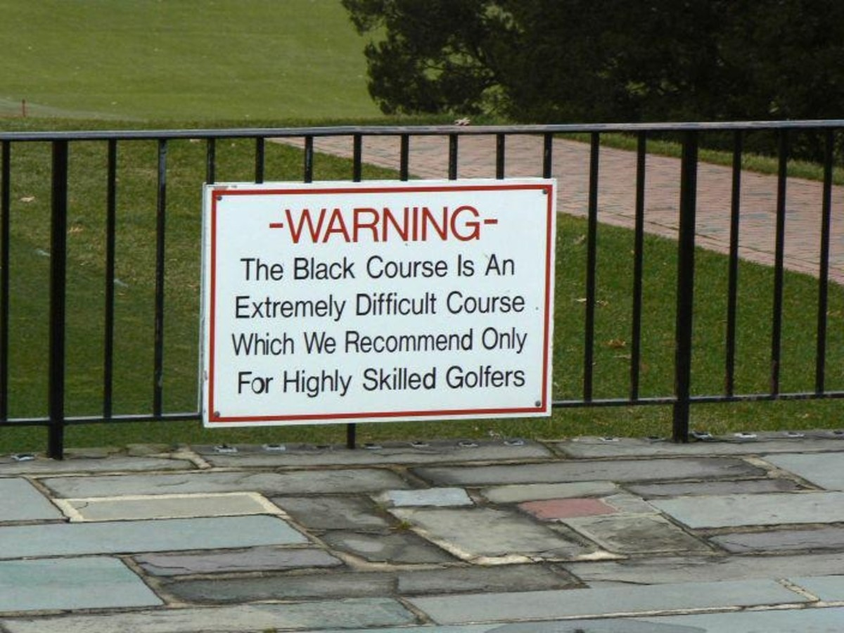 The famous warning sign at the start of the Bethpage Black golf course.