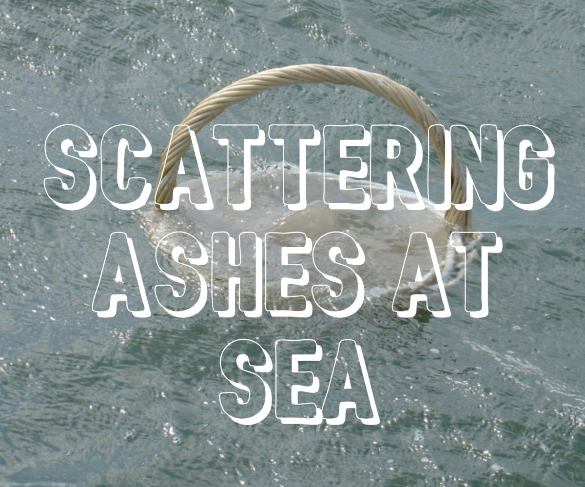 Burial of ashes in special-made basket peacefully drifting away in the ocean.