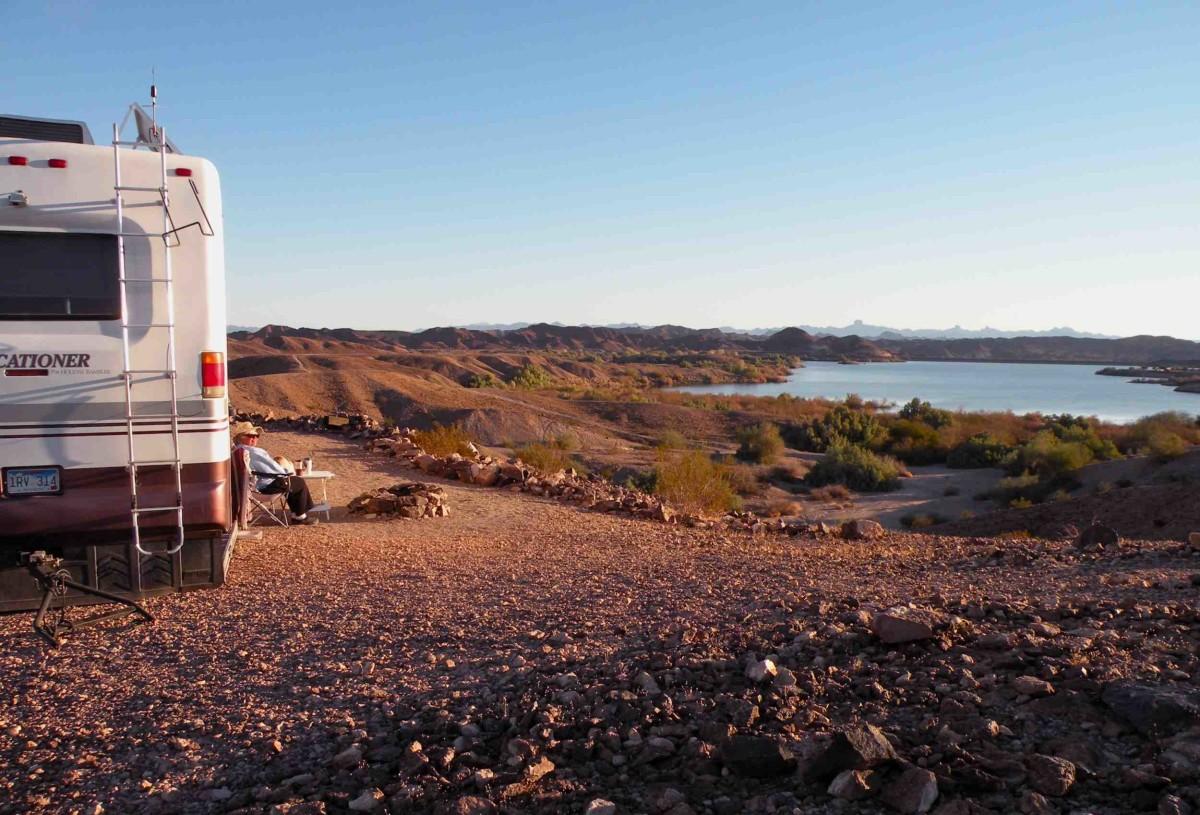 Our campsite overlooking Senator Wash Reservoir at Senator Wash LTVA.