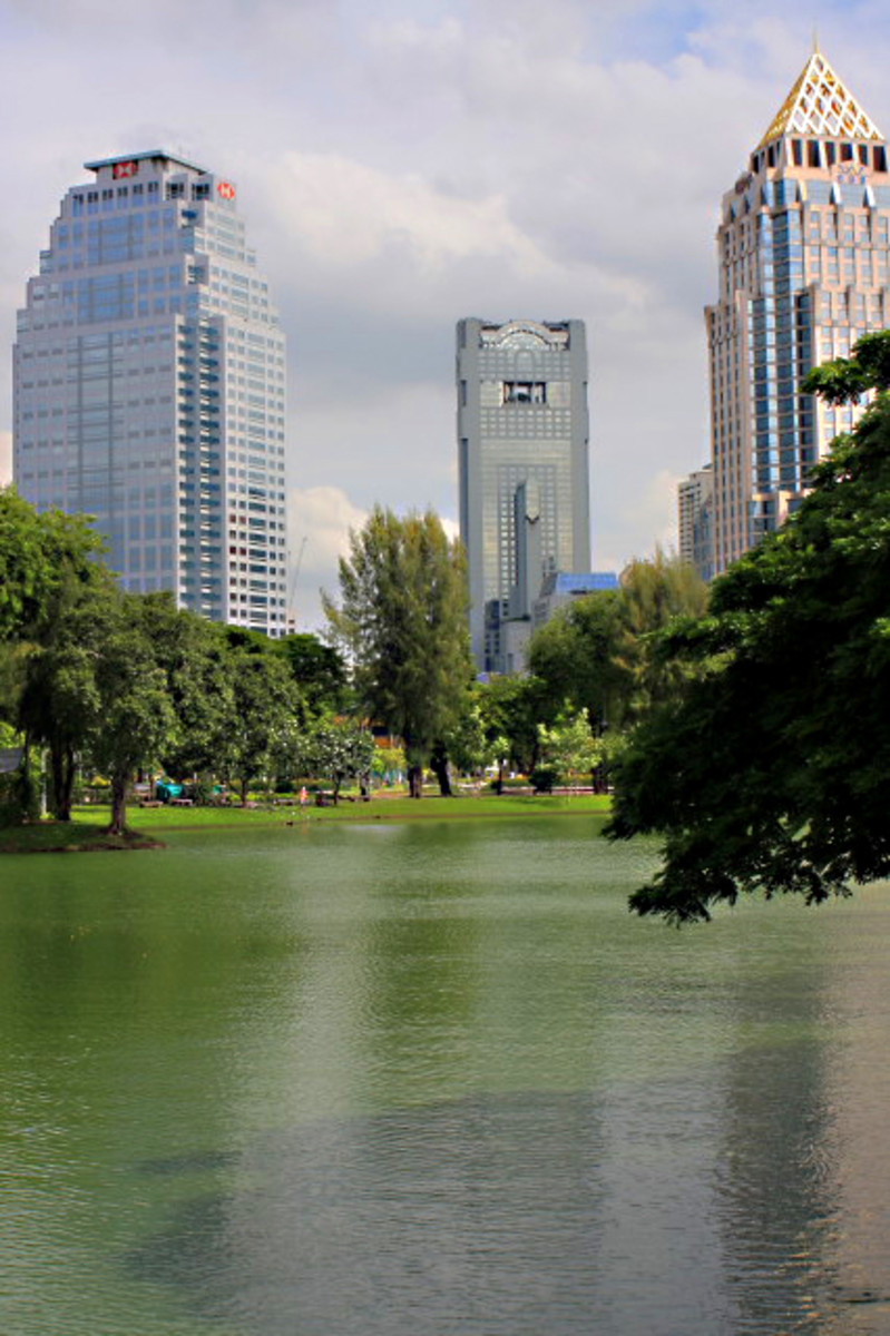 The Lumpini Lake, with skyscrapers beyond. In the park you only have to look to the horizon to see that the bustling city of Bangkok is never very far away