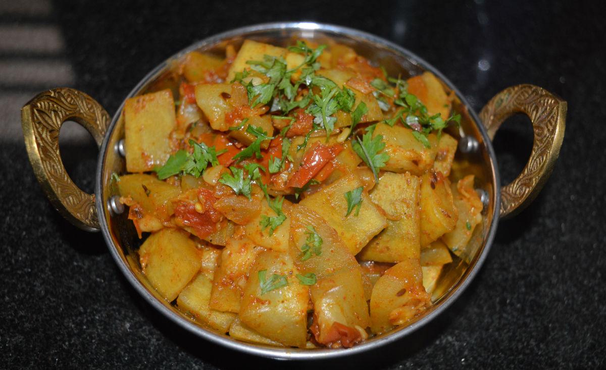 Bottle gourd masala curry, or lauki subji