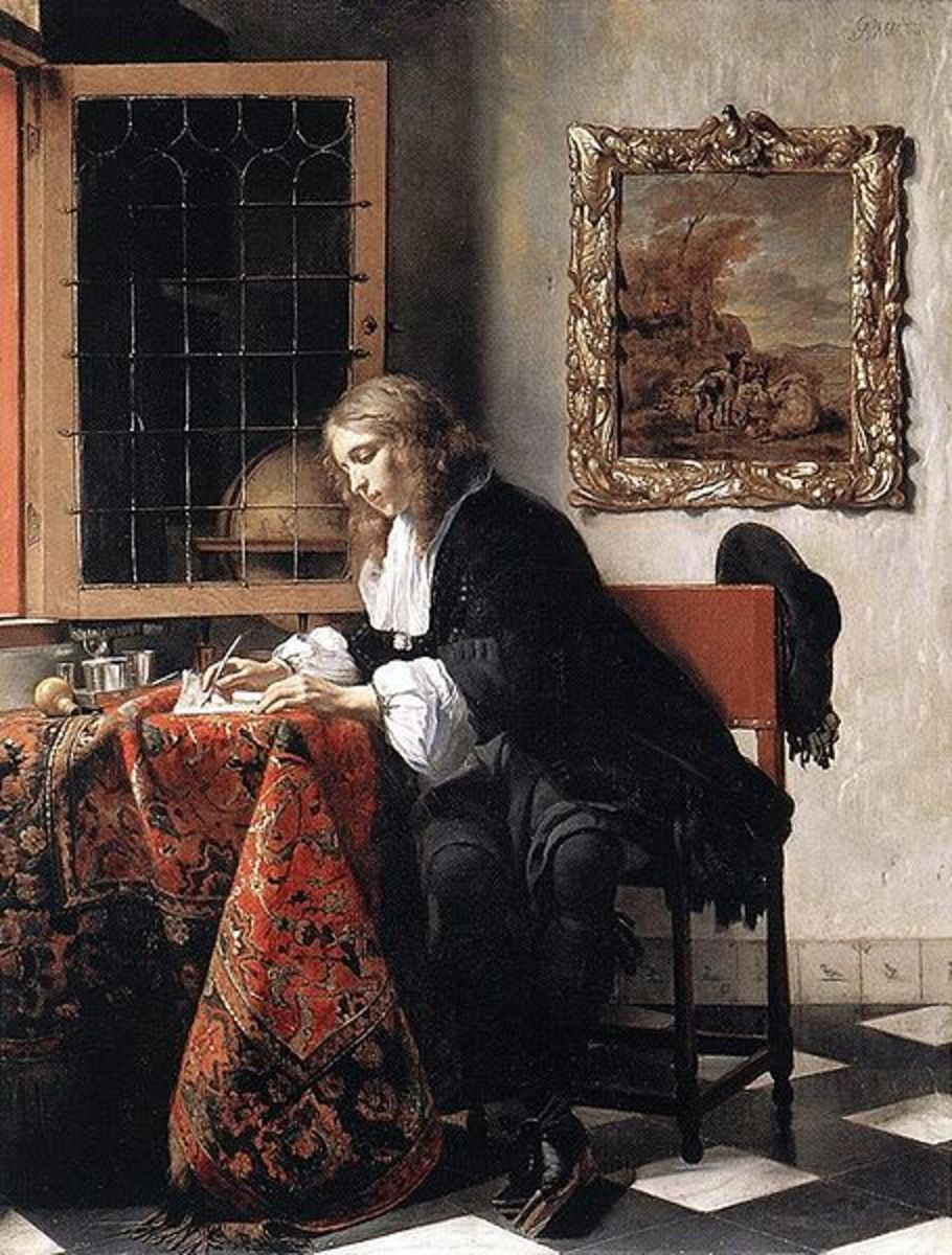 'Man Writing a Letter' 1662-65; oil on canvas