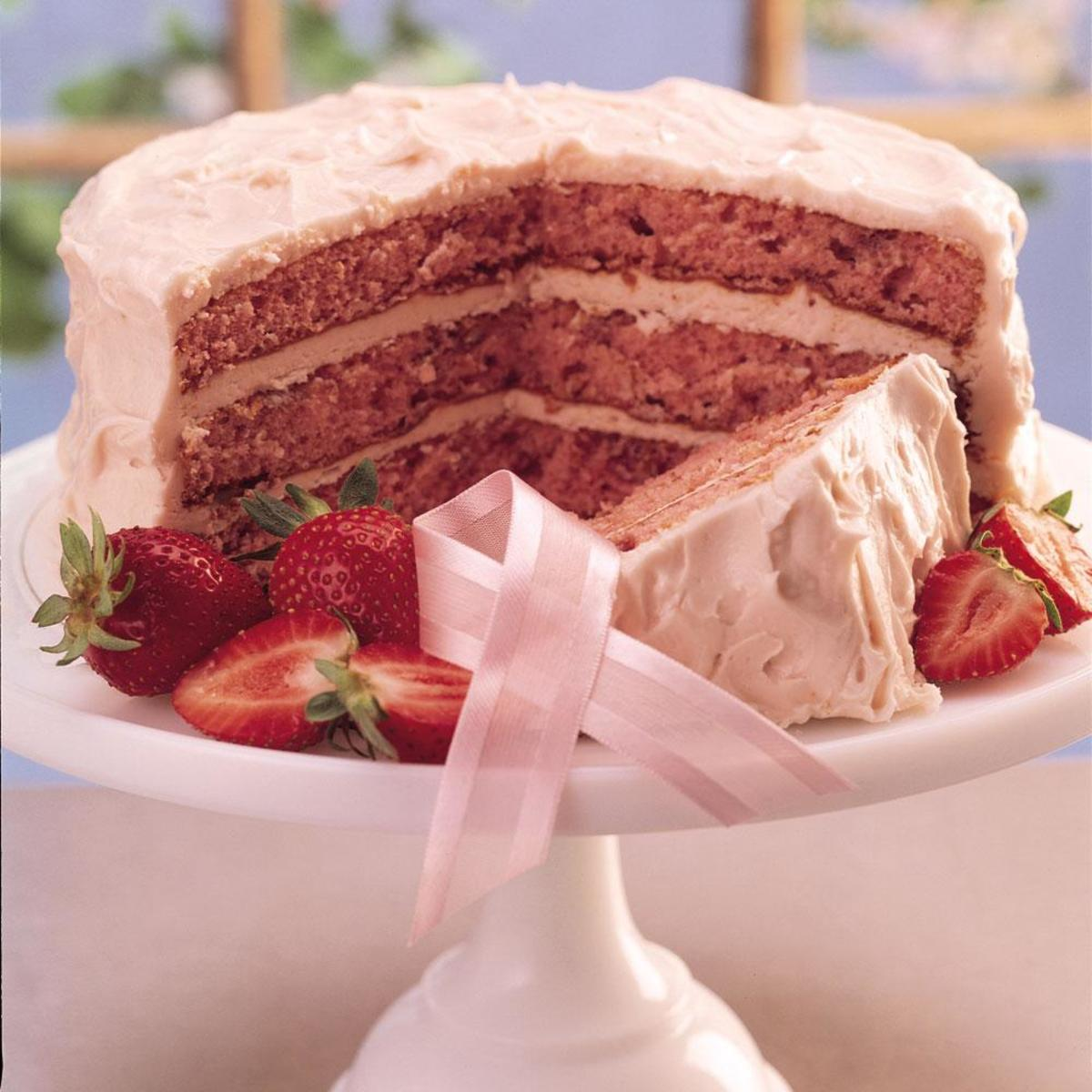 fresh strawberry triple layer cake recipe from scratch