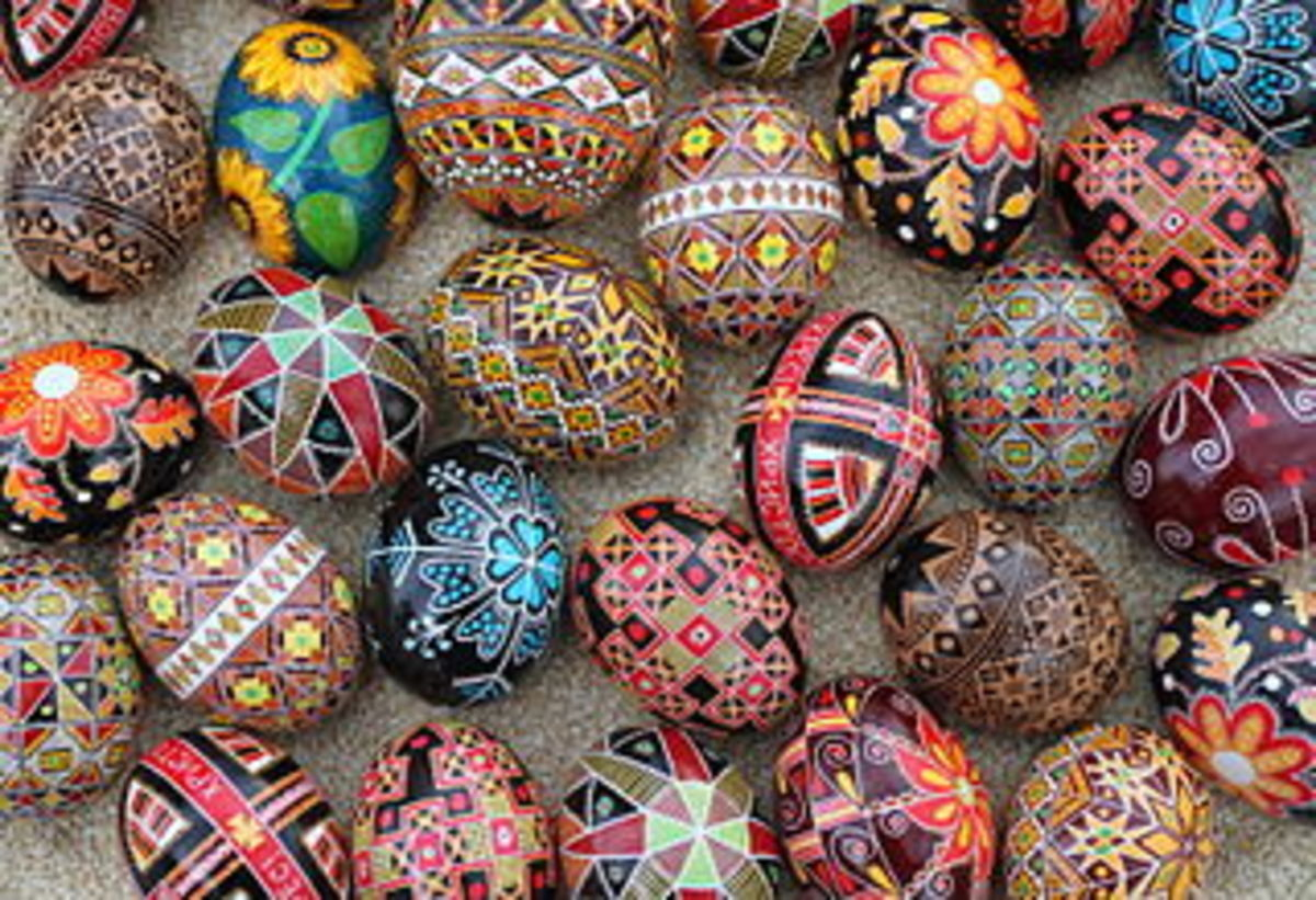 Pisanki (or Pysanky) shown in different intricate designs.