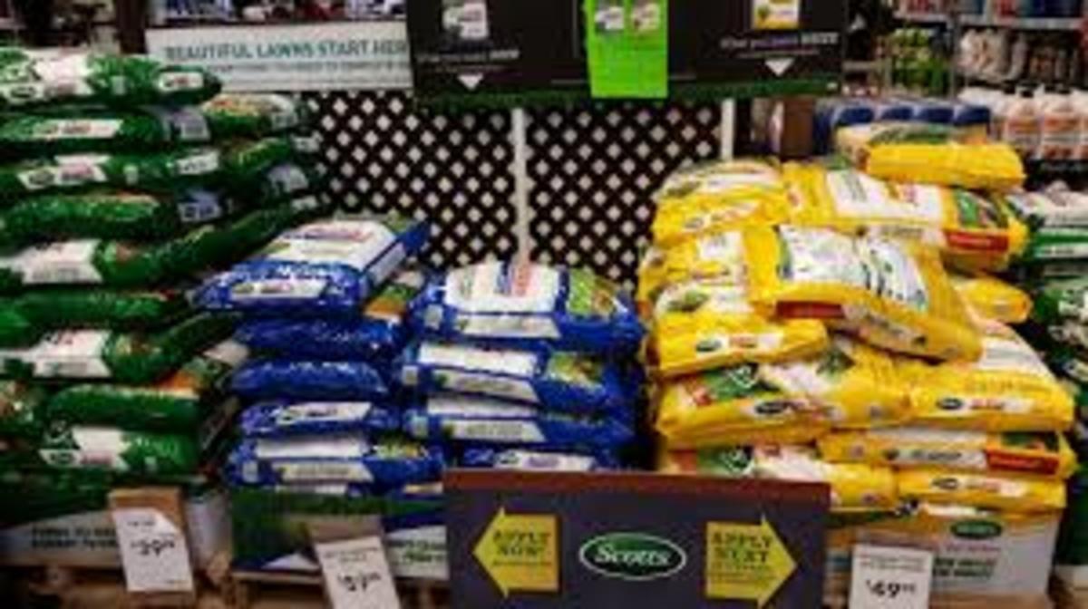 Big box garden centers push the use of high nitrogen fertilizers by stacking palettes high and offering sale prices.