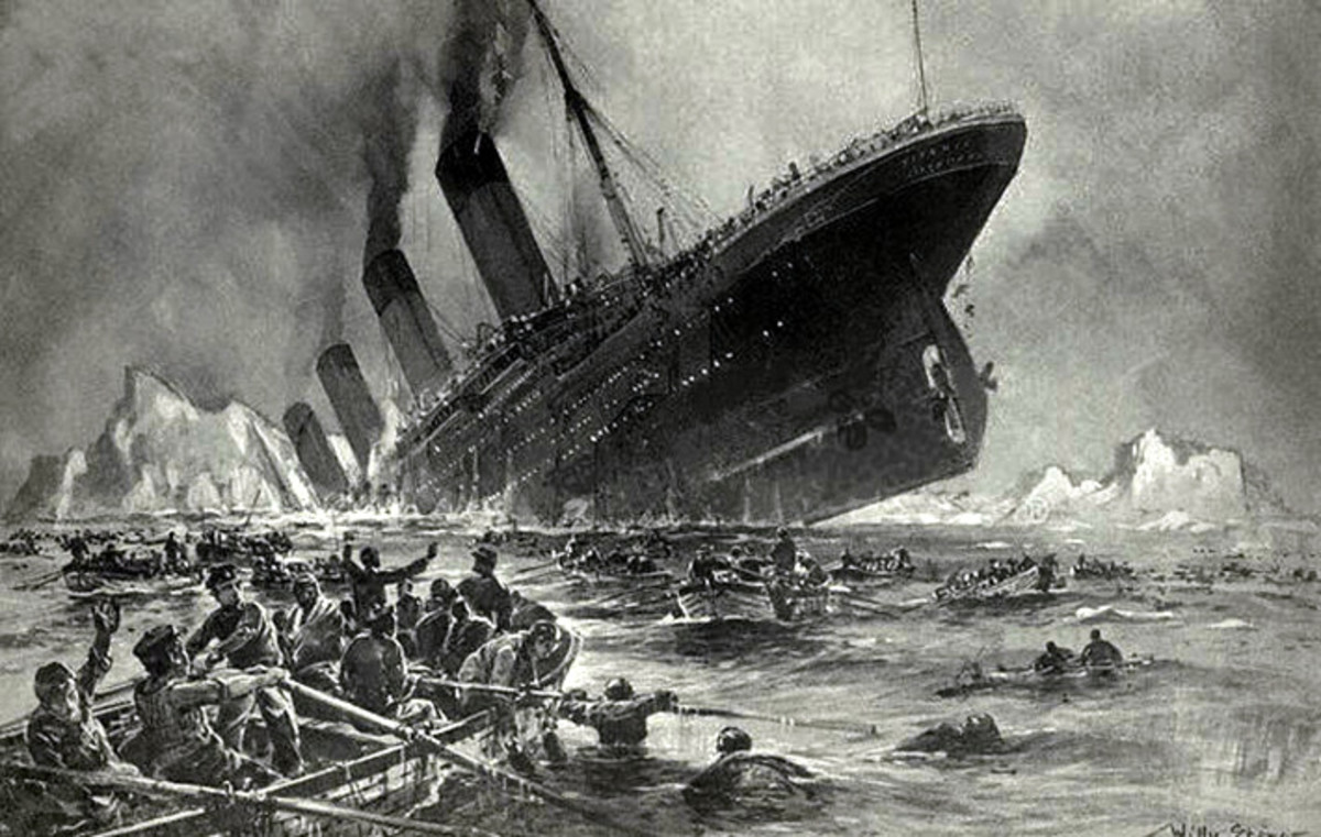 Artists impression of the horror of the sinking of the Titanic