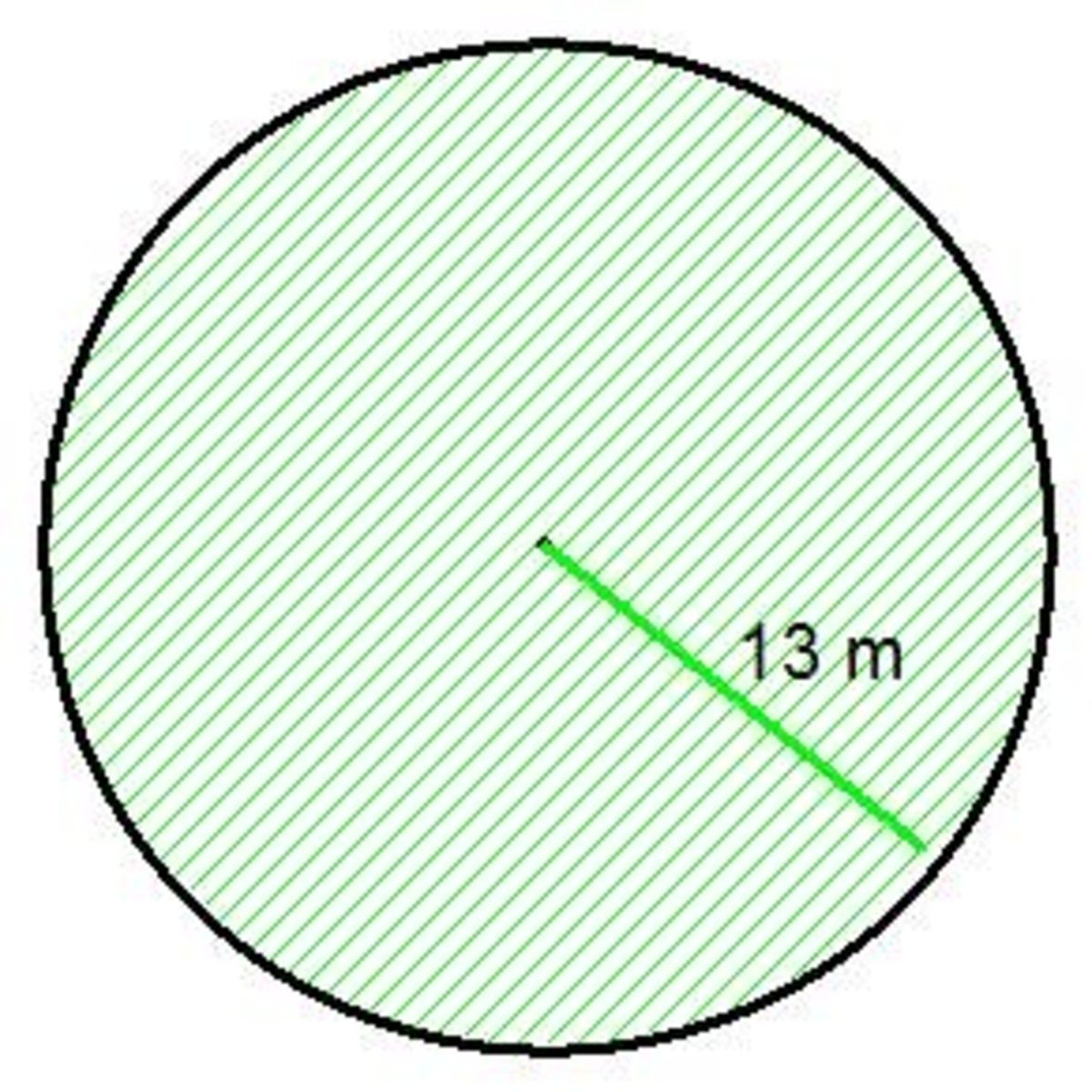 This circular lawn has a radius of 13m, so our answer with be in meters squared.