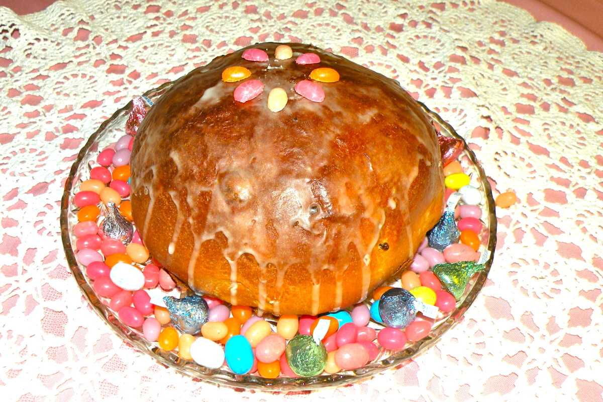 Babka, or Russian Easter bread, can be glazed and decorated with candy or candied fruit.