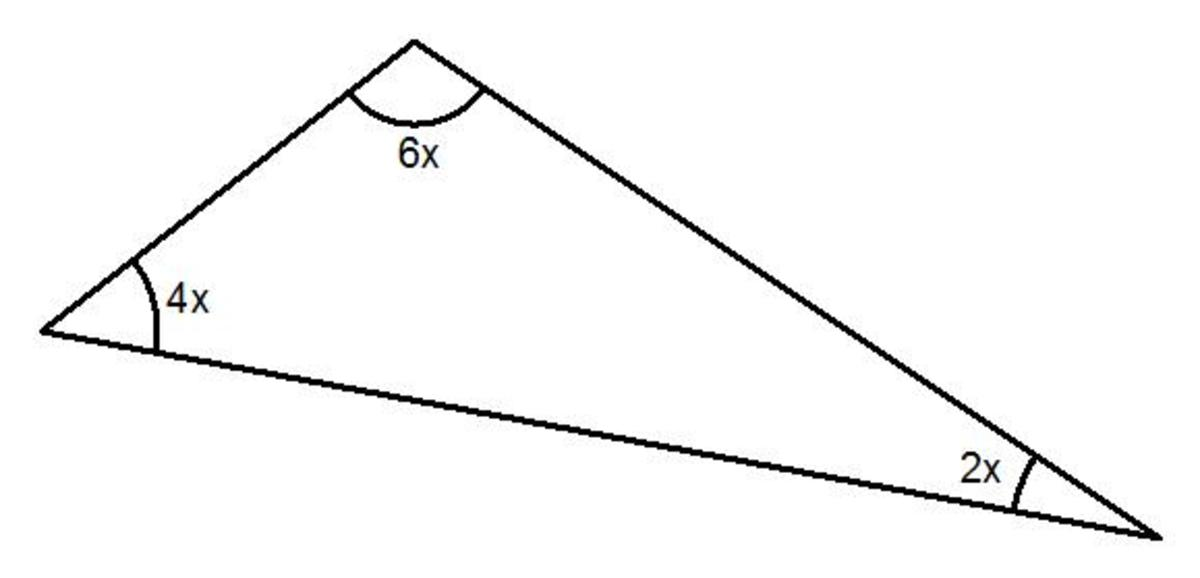 Solving triangles. How to work out the angles in a triangle when the angles given are in algebra.