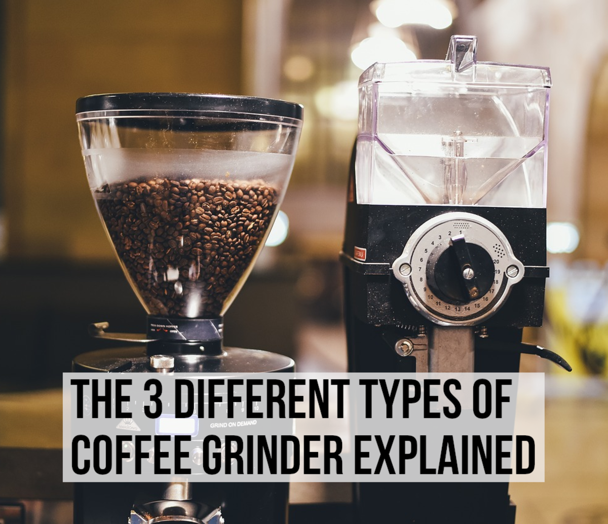 This article explains the different types of coffee grinders and gives examples.