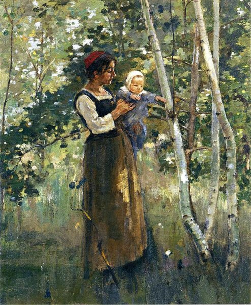 Mother and Child by the Hearth        by Theodore Robinson 1887