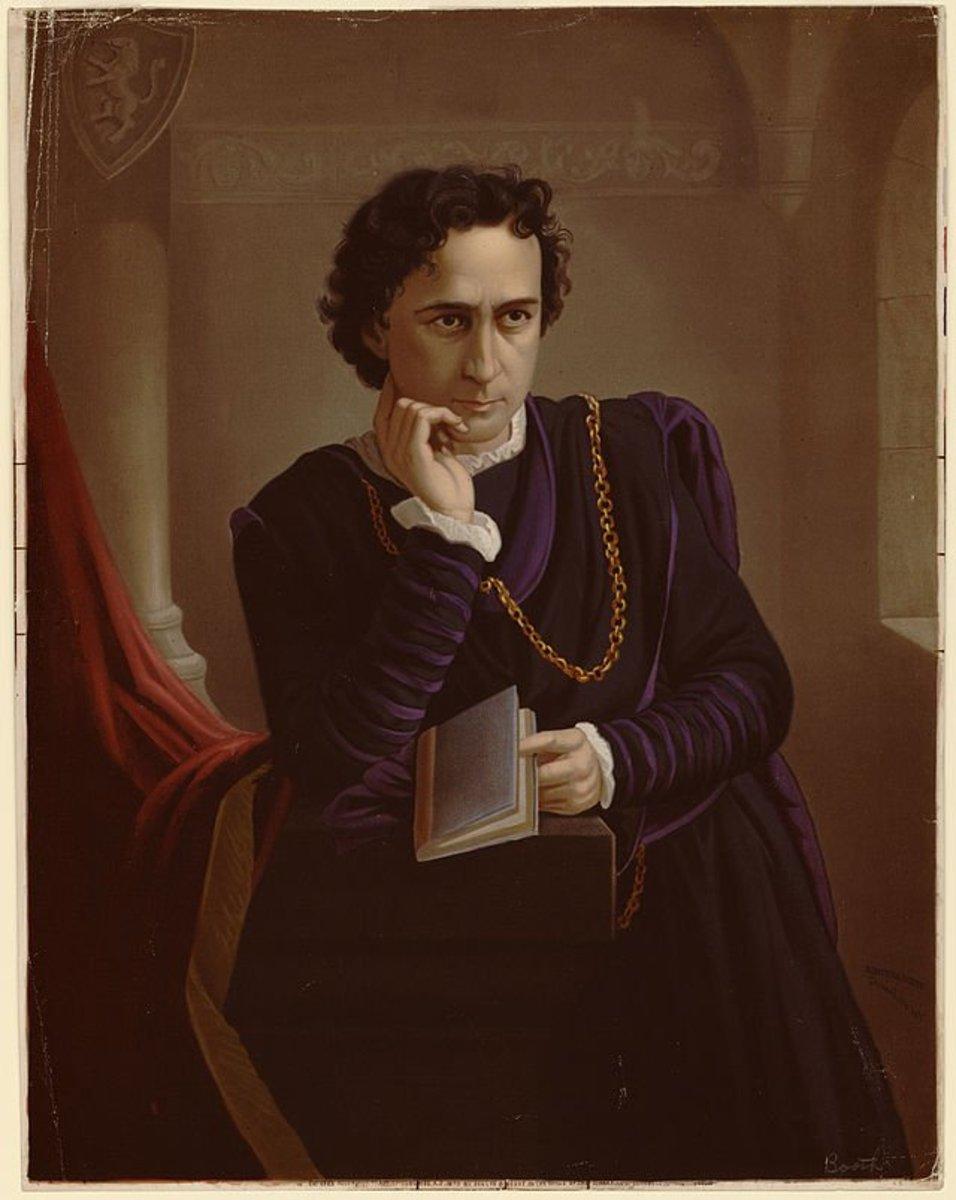 Edwin Booth as Hamlet, color lithograph 1873.