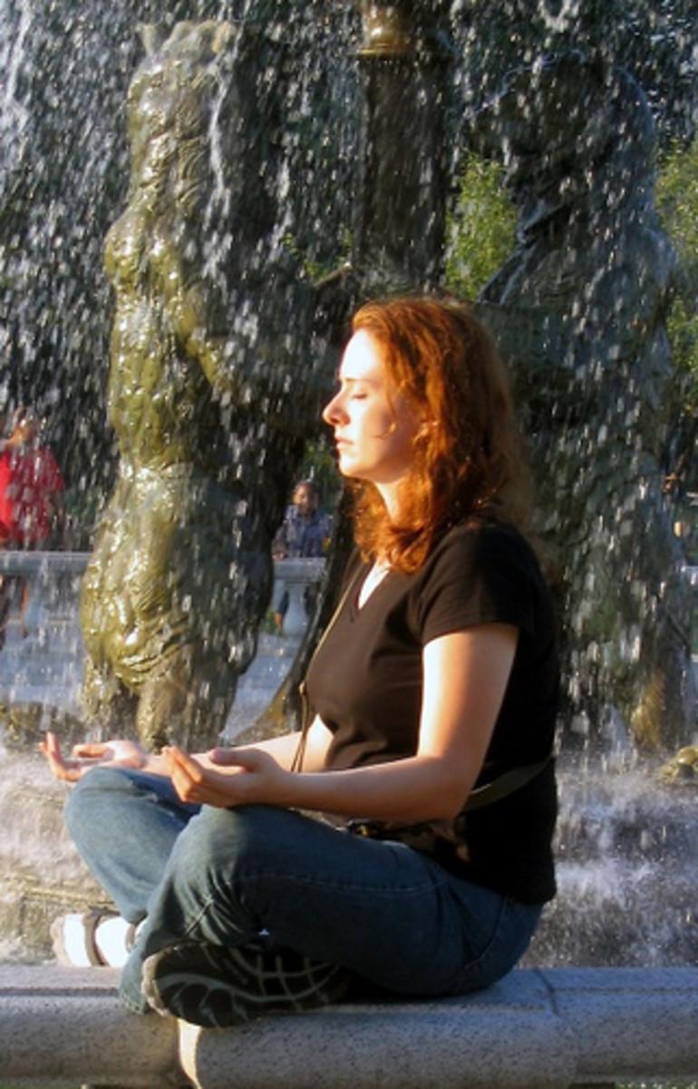 Woman meditating.