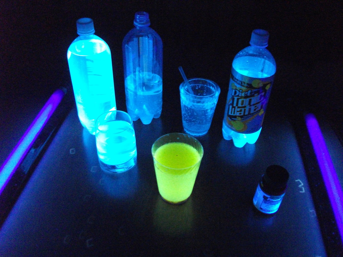Tonic water glows blue and drinks with B vitamins glow a yellow/green color.