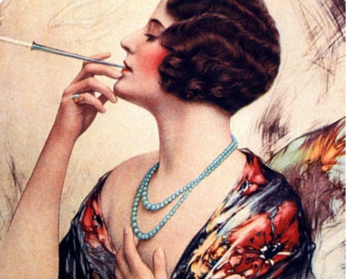 Is she smoking that or making love to it? An image of glamour and sophistication went hand in hand with cigarette smoking in the first half of the 20th Century..