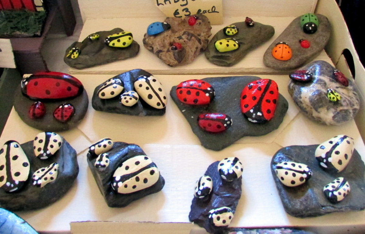 How to paint rocks to look like ladybugs and ladybirds.