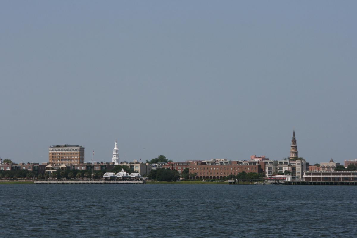 A view of Charleston from the Harbor.